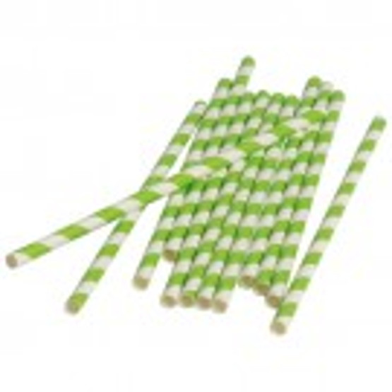 Lime Stripped Paper Straws (Dozen)