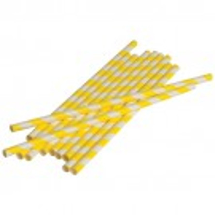 Yellow  Stripped Paper Straws (Dozen)