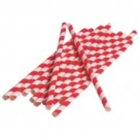 Red Stripped Paper Straws (Dozen)