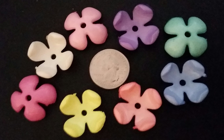 Acrylic Curved Flower Bead Pastel