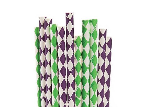 Purple and Green Diamond Straws 24 Pieces