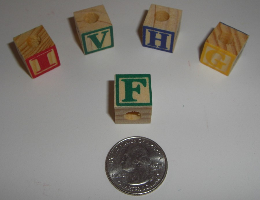 15mm Painted Alphabet Blocks (18pcs)